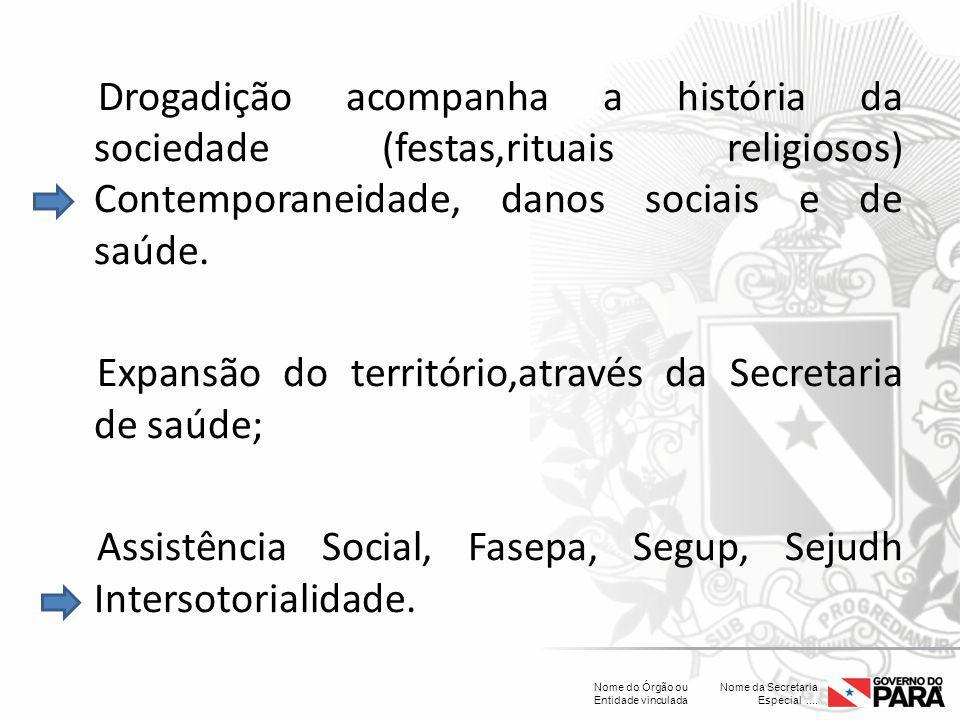 Nome da Secretaria Especial.... Nome do Órgão ou Entidade vinculada Drogadição acompanha a história da sociedade (festas,rituais religiosos) Contempor
