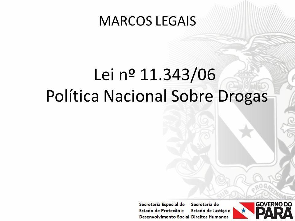 Nome da Secretaria Especial.... Nome do Órgão ou Entidade vinculada MARCOS LEGAIS Lei nº 11.343/06 Política Nacional Sobre Drogas