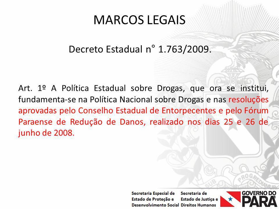 Nome da Secretaria Especial.... Nome do Órgão ou Entidade vinculada MARCOS LEGAIS Art. 1º A Política Estadual sobre Drogas, que ora se institui, funda