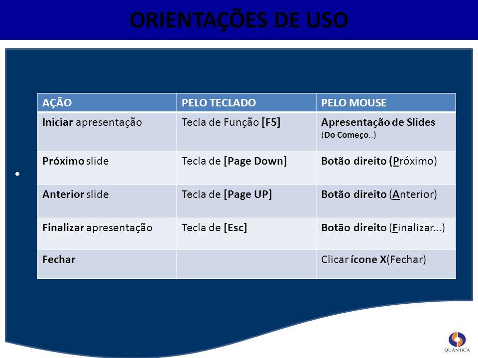 ORIENTAÇÕES DE USO AÇÃOPELO TECLADOPELO MOUSE Iniciar apresentaçãoTecla de Função [F5]Apresentação de Slides (Do Começo..) Próximo slideTecla de [Page