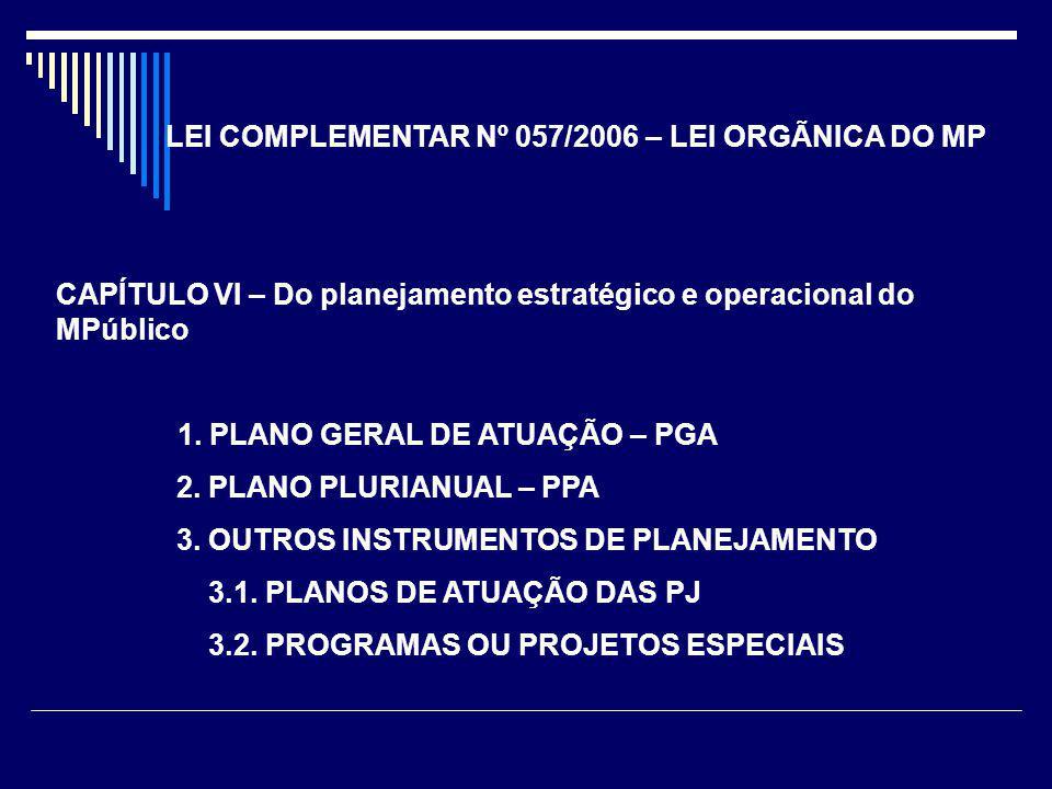 LEI COMPLEMENTAR Nº 057/2006 – LEI ORGÃNICA DO MP CAPÍTULO VI – Do planejamento estratégico e operacional do MPúblico 1. PLANO GERAL DE ATUAÇÃO – PGA