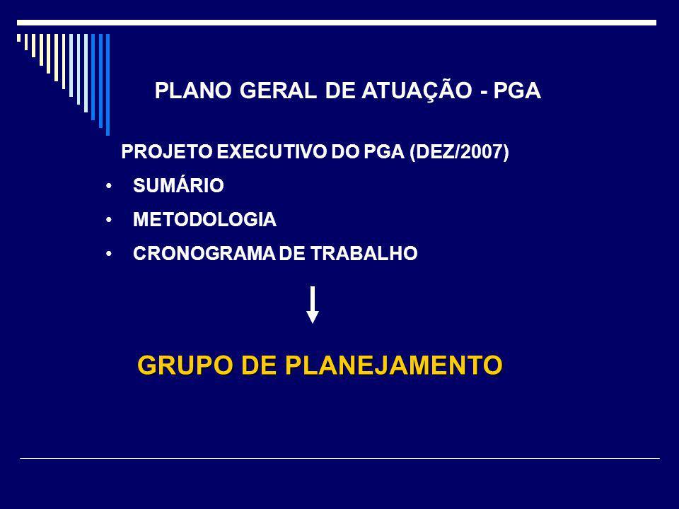 PLANO GERAL DE ATUAÇÃO - PGA PROJETO EXECUTIVO DO PGA (DEZ/2007) SUMÁRIO METODOLOGIA CRONOGRAMA DE TRABALHO GRUPO DE PLANEJAMENTO GRUPO DE PLANEJAMENTO
