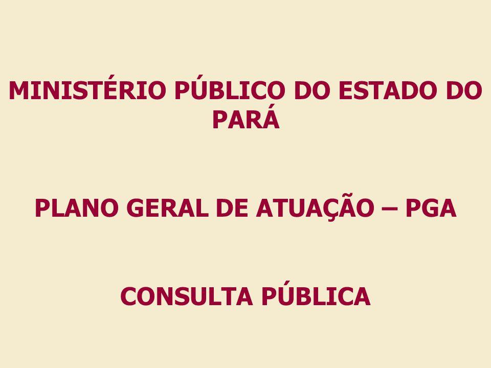MINISTÉRIO PÚBLICO DO ESTADO DO PARÁ PLANO GERAL DE ATUAÇÃO – PGA CONSULTA PÚBLICA