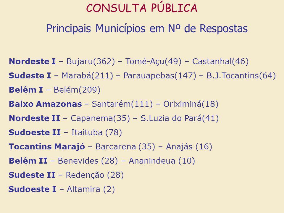 CONSULTA PÚBLICA Principais Municípios em Nº de Respostas Nordeste I – Bujaru(362) – Tomé-Açu(49) – Castanhal(46) Sudeste I – Marabá(211) – Parauapebas(147) – B.J.Tocantins(64) Belém I – Belém(209) Baixo Amazonas – Santarém(111) – Oriximiná(18) Nordeste II – Capanema(35) – S.Luzia do Pará(41) Sudoeste II – Itaituba (78) Tocantins Marajó – Barcarena (35) – Anajás (16) Belém II – Benevides (28) – Ananindeua (10) Sudeste II – Redenção (28) Sudoeste I – Altamira (2)