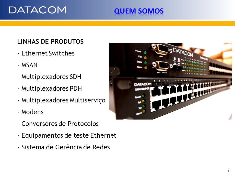 LINHAS DE PRODUTOS - Ethernet Switches - MSAN - Multiplexadores SDH - Multiplexadores PDH - Multiplexadores Multiserviço - Modens - Conversores de Pro