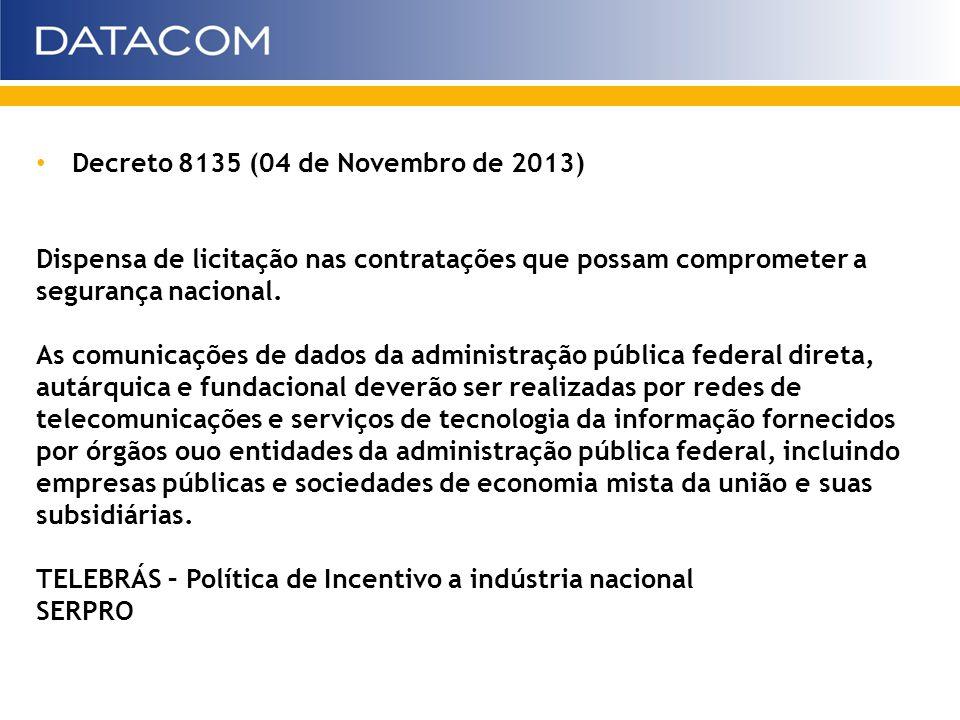 Decreto 8135 (04 de Novembro de 2013) Dispensa de licitação nas contratações que possam comprometer a segurança nacional. As comunicações de dados da