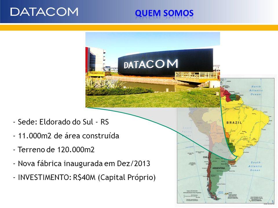 - Sede: Eldorado do Sul - RS - 11.000m2 de área construída - Terreno de 120.000m2 - Nova fábrica inaugurada em Dez/2013 - INVESTIMENTO: R$40M (Capital