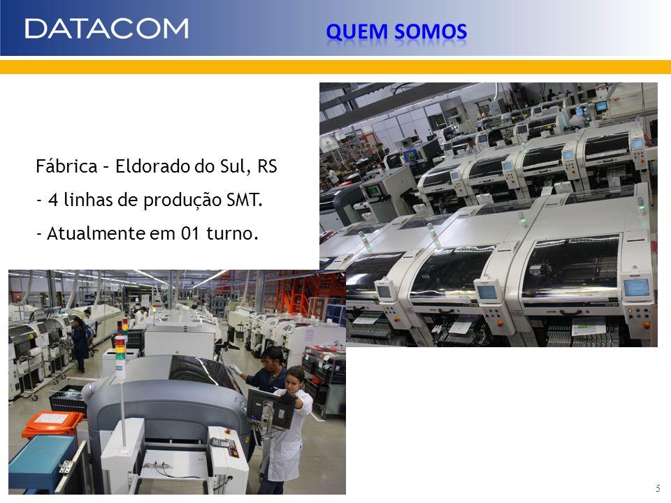Fábrica – Eldorado do Sul, RS - 4 linhas de produção SMT. - Atualmente em 01 turno. 5