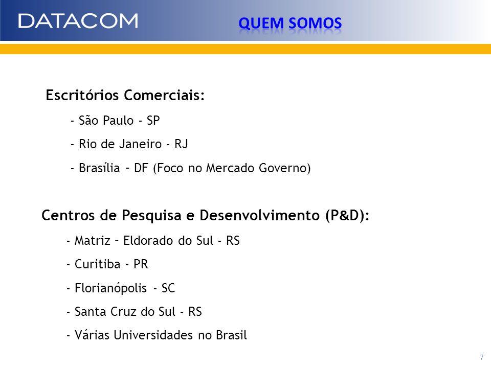 Escritórios Comerciais: - São Paulo - SP - Rio de Janeiro - RJ - Brasília – DF (Foco no Mercado Governo) Centros de Pesquisa e Desenvolvimento (P & D)