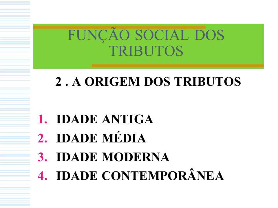 FUNÇÃO SOCIAL DOS TRIBUTOS 2. A ORIGEM DOS TRIBUTOS