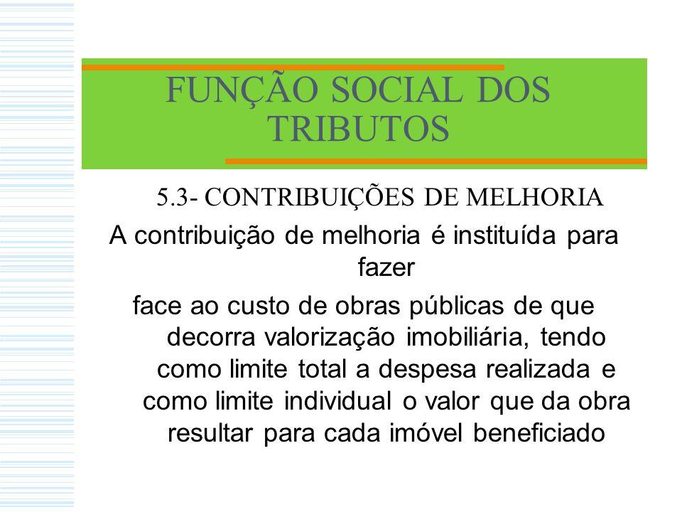 FUNÇÃO SOCIAL DOS TRIBUTOS 5.4.2.2 – TAXAS DE SERVIÇOS - São aquelas que têm como fato gerador a utilização de determinados serviços públicos.