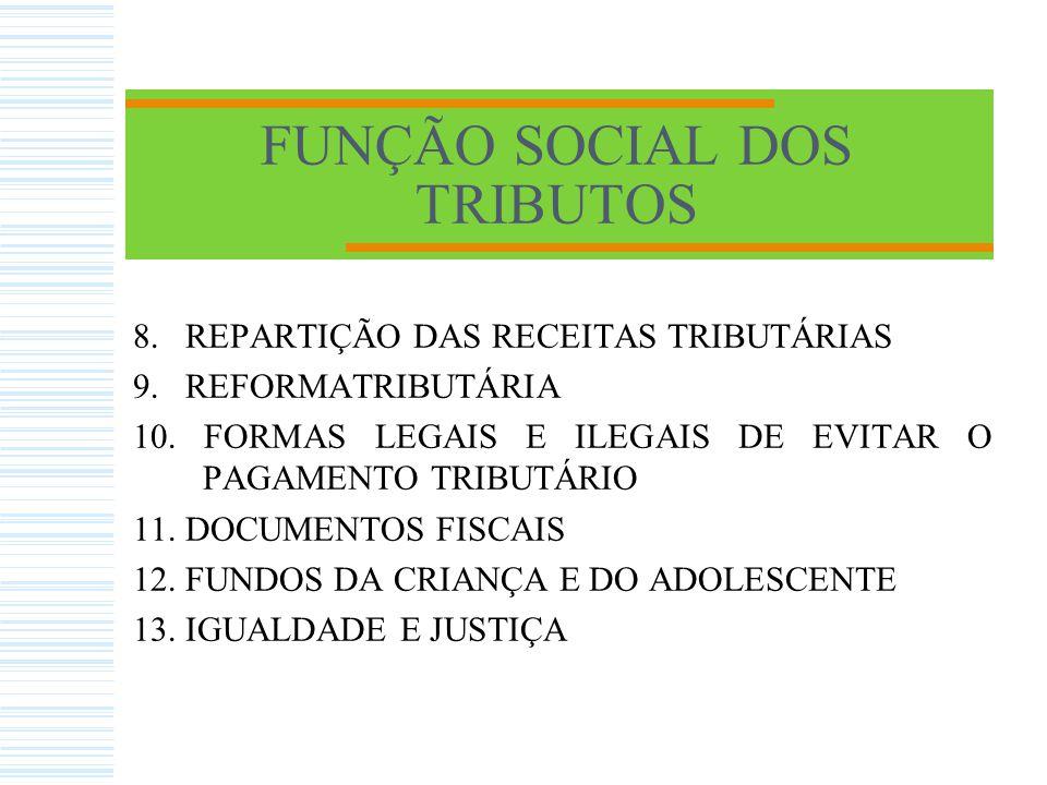 FUNÇÃO SOCIAL DOS TRIBUTOS 8.REPARTIÇÃO DAS RECEITAS TRIBUTÁRIAS 9.
