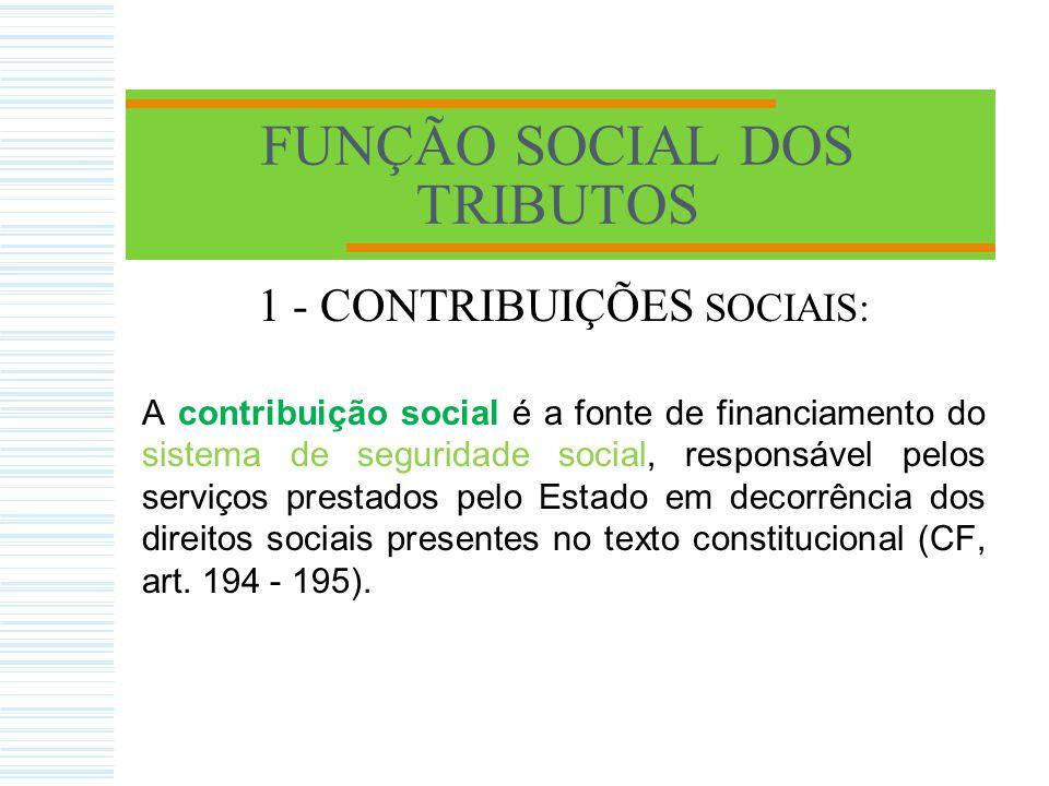 FUNÇÃO SOCIAL DOS TRIBUTOS As contribuições dividem-se em: 1.