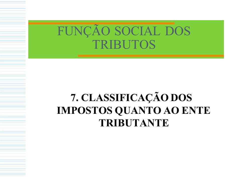 FUNÇÃO SOCIAL DOS TRIBUTOS 7. CLASSIFICAÇÃO DOS IMPOSTOS QUANTO AO ENTE TRIBUTANTE