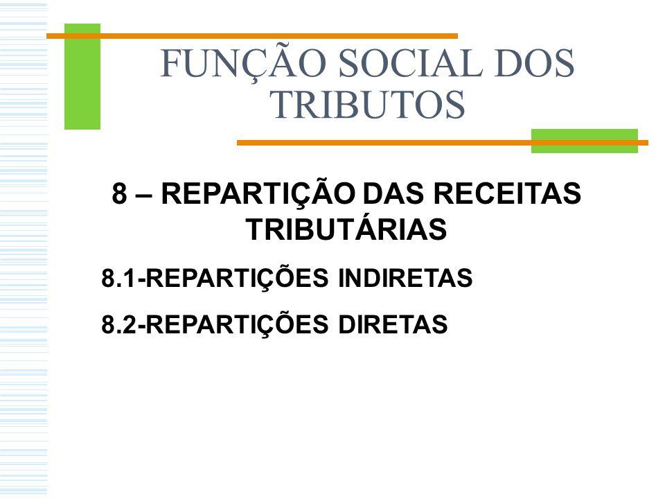 FUNÇÃO SOCIAL DOS TRIBUTOS 8 – REPARTIÇÃO DAS RECEITAS TRIBUTÁRIAS