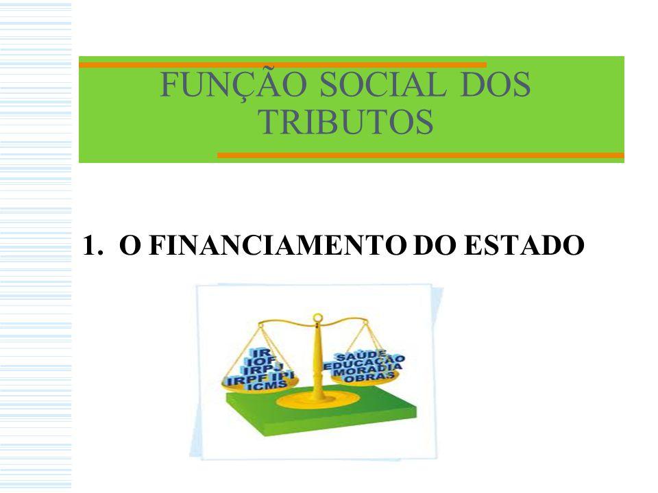 FUNÇÃO SOCIAL DOS TRIBUTOS 1. O FINANCIAMENTO DO ESTADO