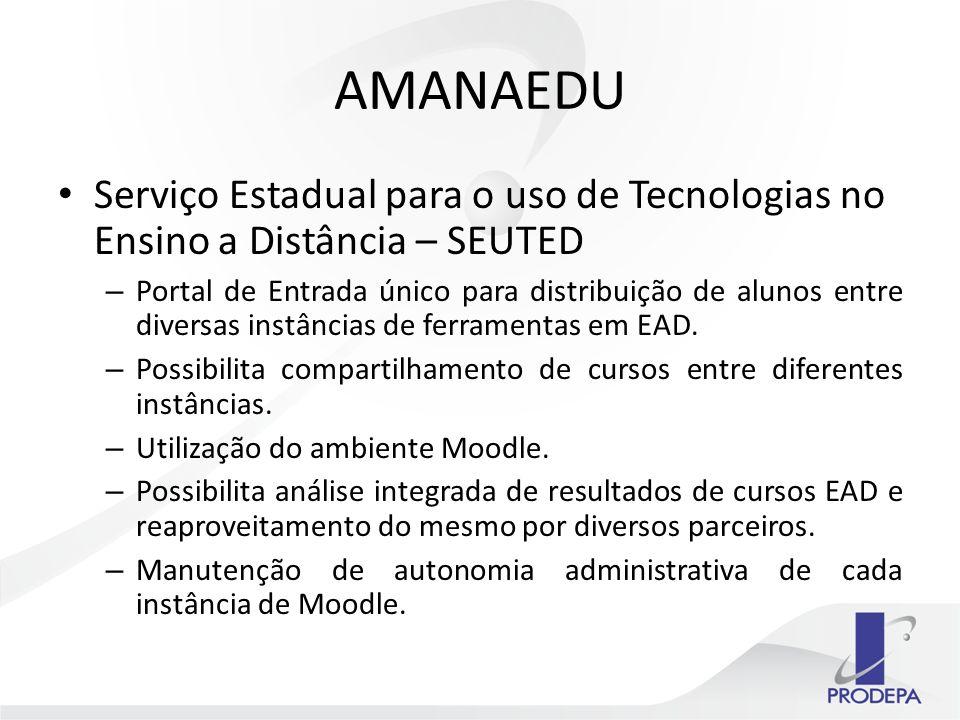 AMANAEDU Serviço Estadual para o uso de Tecnologias no Ensino a Distância – SEUTED – Portal de Entrada único para distribuição de alunos entre diversas instâncias de ferramentas em EAD.