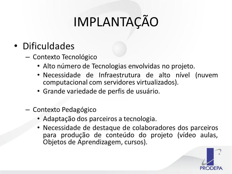 IMPLANTAÇÃO Dificuldades – Contexto Tecnológico Alto número de Tecnologias envolvidas no projeto.
