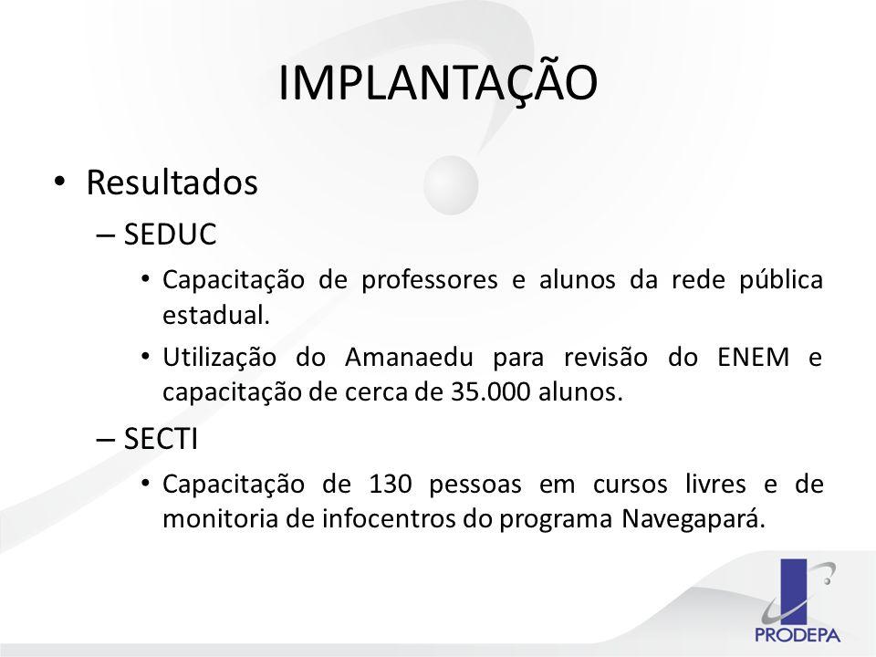 IMPLANTAÇÃO Resultados – SEDUC Capacitação de professores e alunos da rede pública estadual.