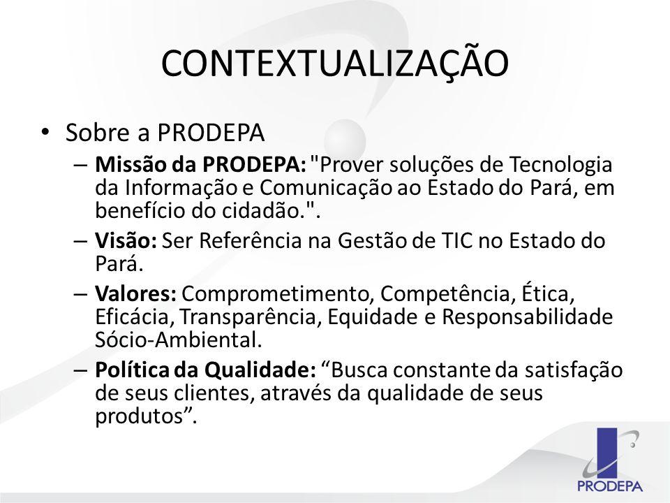 CONTEXTUALIZAÇÃO Sobre a PRODEPA – Missão da PRODEPA: Prover soluções de Tecnologia da Informação e Comunicação ao Estado do Pará, em benefício do cidadão. .