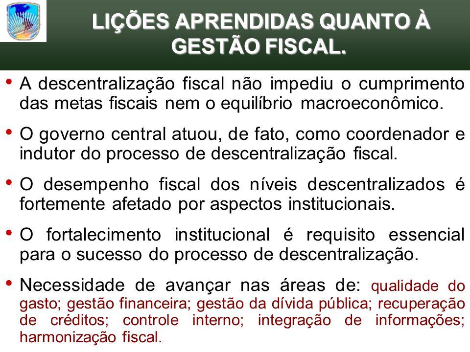 LIÇÕES APRENDIDAS QUANTO À GESTÃO FISCAL. LIÇÕES APRENDIDAS QUANTO À GESTÃO FISCAL. A descentralização fiscal não impediu o cumprimento das metas fisc