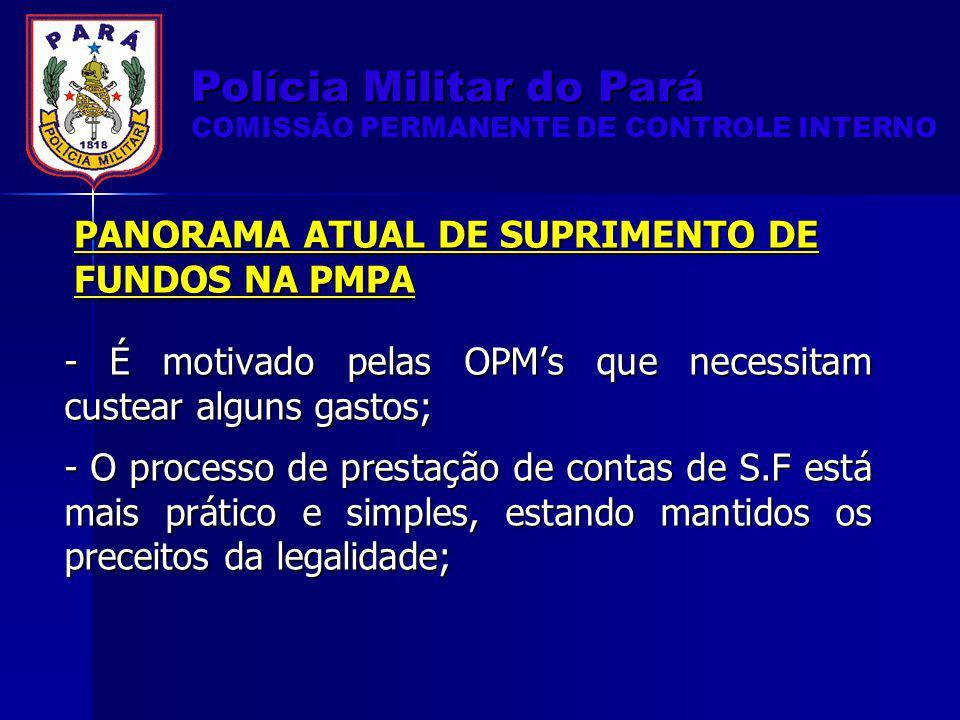 PANORAMA ATUAL DE SUPRIMENTO DE FUNDOS NA PMPA - É motivado pelas OPMs que necessitam custear alguns gastos; - O processo de prestação de contas de S.