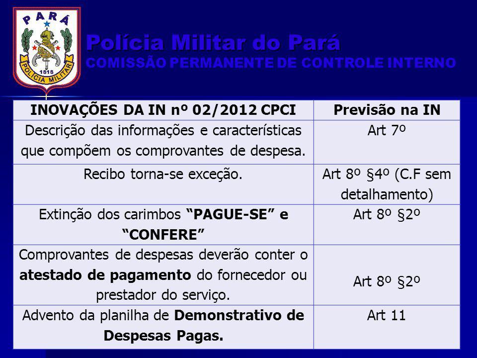 INOVAÇÕES DA IN nº 02/2012 CPCIPrevisão na IN Descrição das informações e características que compõem os comprovantes de despesa. Art 7º Recibo torna-