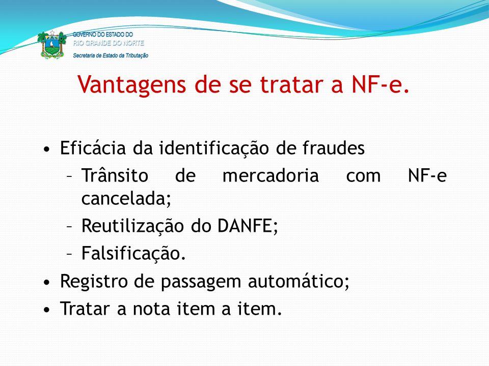 Vantagens de se tratar a NF-e. Eficácia da identificação de fraudes –Trânsito de mercadoria com NF-e cancelada; –Reutilização do DANFE; –Falsificação.