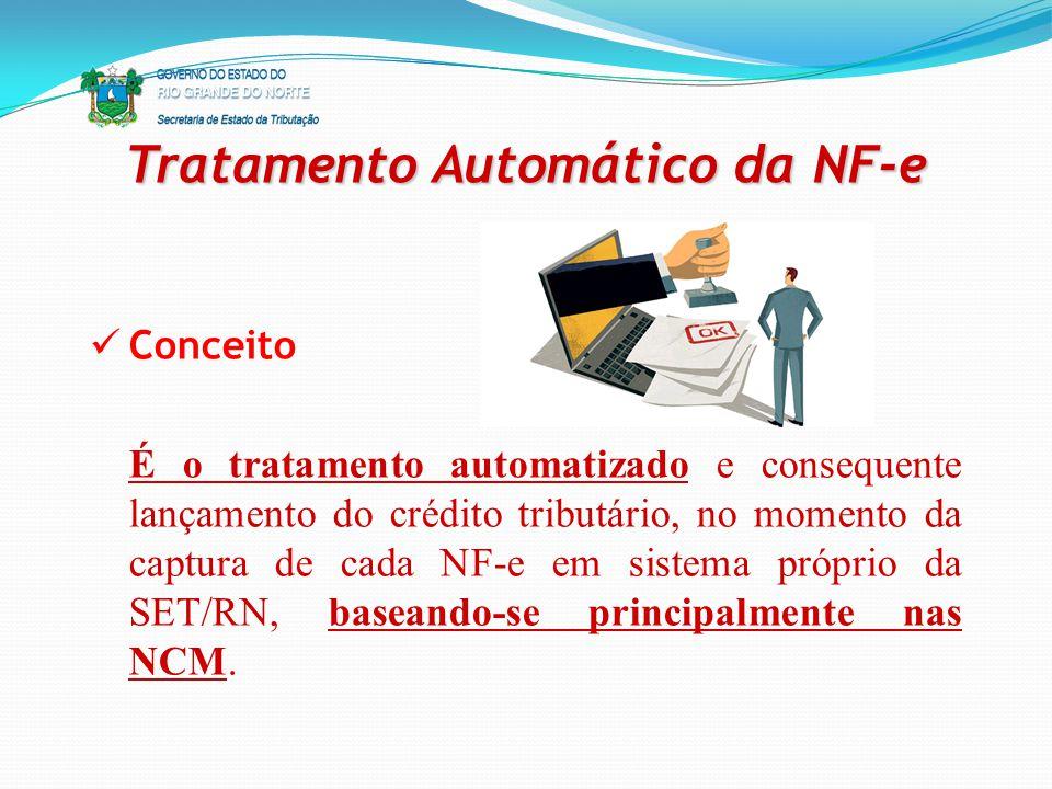 Tratamento Automático da NF-e Conceito É o tratamento automatizado e consequente lançamento do crédito tributário, no momento da captura de cada NF-e
