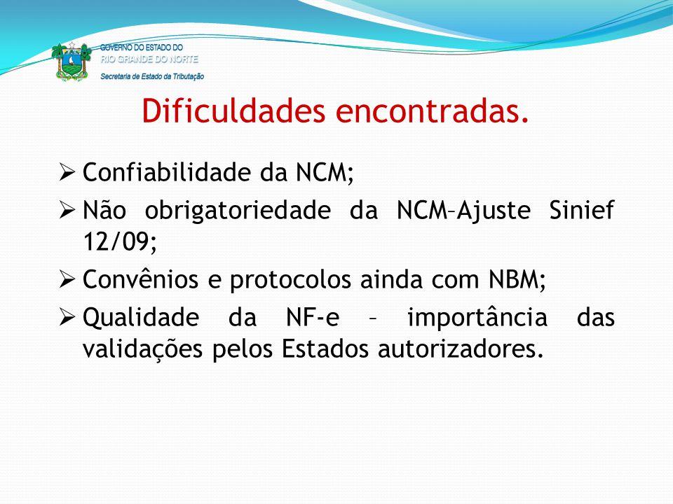 Dificuldades encontradas. Confiabilidade da NCM; Não obrigatoriedade da NCM–Ajuste Sinief 12/09; Convênios e protocolos ainda com NBM; Qualidade da NF