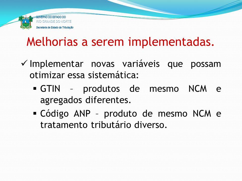 Melhorias a serem implementadas. Implementar novas variáveis que possam otimizar essa sistemática: GTIN – produtos de mesmo NCM e agregados diferentes