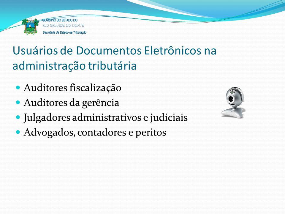 Usuários de Documentos Eletrônicos na administração tributária Auditores fiscalização Auditores da gerência Julgadores administrativos e judiciais Adv