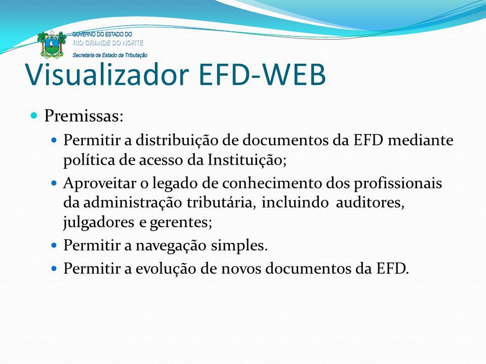Visualizador EFD-WEB Premissas: Permitir a distribuição de documentos da EFD mediante política de acesso da Instituição; Aproveitar o legado de conhec