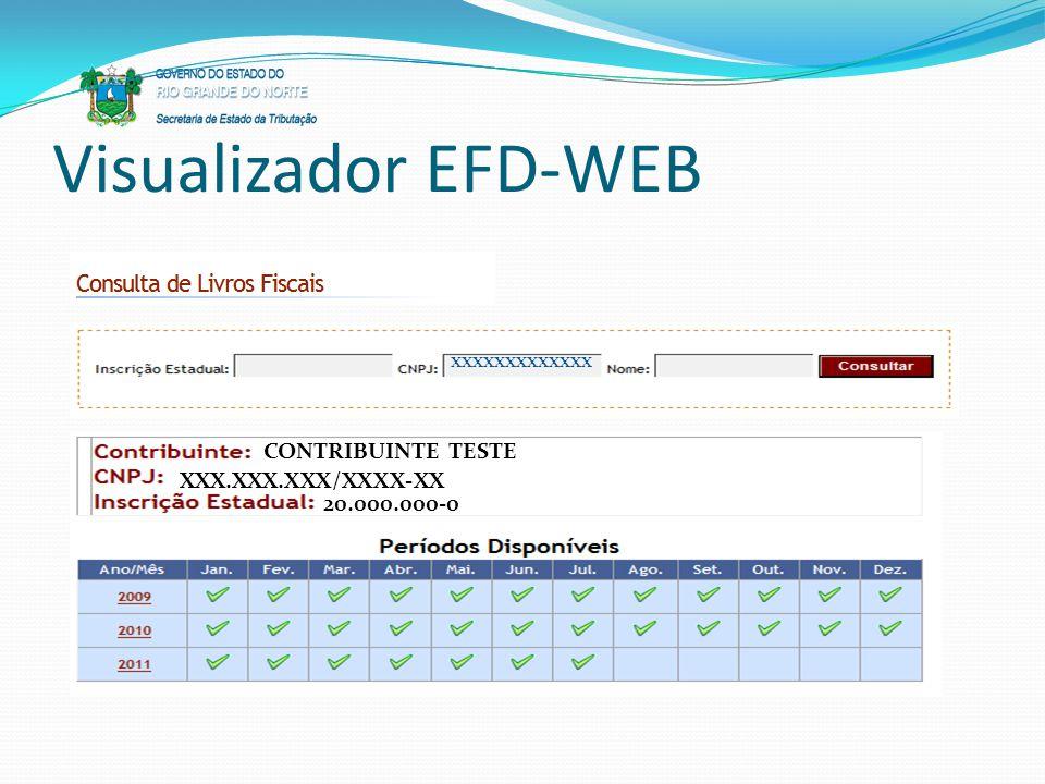 Visualizador EFD-WEB xxxxxxxxxxxxx CONTRIBUINTE TESTE XXX.XXX.XXX/XXXX-XX 20.000.000-0