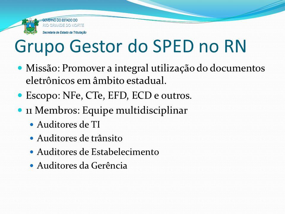 Grupo Gestor do SPED no RN Missão: Promover a integral utilização do documentos eletrônicos em âmbito estadual. Escopo: NFe, CTe, EFD, ECD e outros. 1