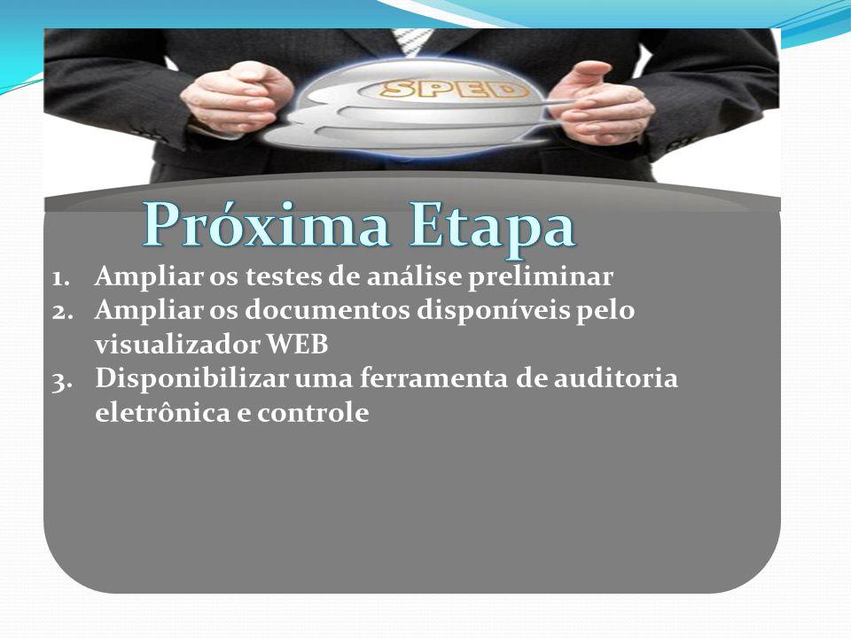 1.Ampliar os testes de análise preliminar 2.Ampliar os documentos disponíveis pelo visualizador WEB 3.Disponibilizar uma ferramenta de auditoria eletr