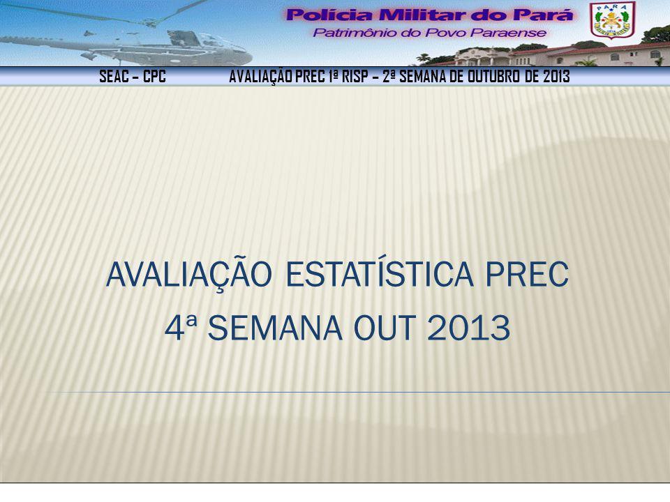 SEAC – CPC AVALIAÇÃO PREC 1ª RISP – 2ª SEMANA DE OUTUBRO DE 2013 AVALIAÇÃO ESTATÍSTICA PREC 4ª SEMANA OUT 2013