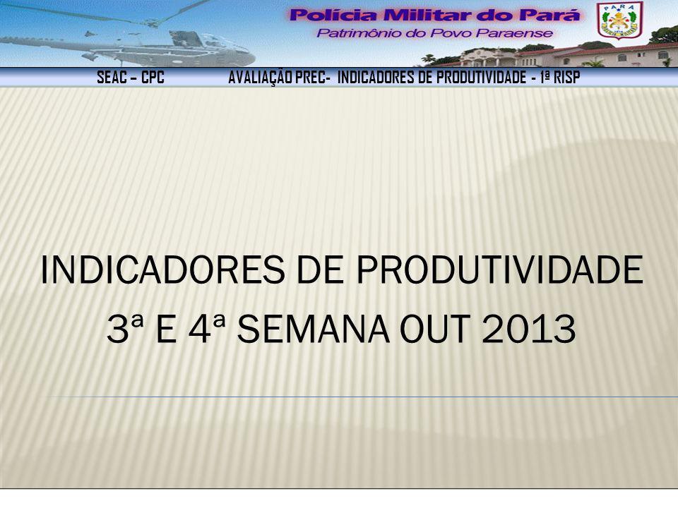 SEAC – CPC AVALIAÇÃO PREC- INDICADORES DE PRODUTIVIDADE - 1ª RISP INDICADORES DE PRODUTIVIDADE 3ª E 4ª SEMANA OUT 2013