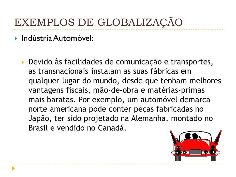 EXEMPLOS DE GLOBALIZAÇÃO Indústria Automóvel: Devido às facilidades de comunicação e transportes, as transnacionais instalam as suas fábricas em qualq