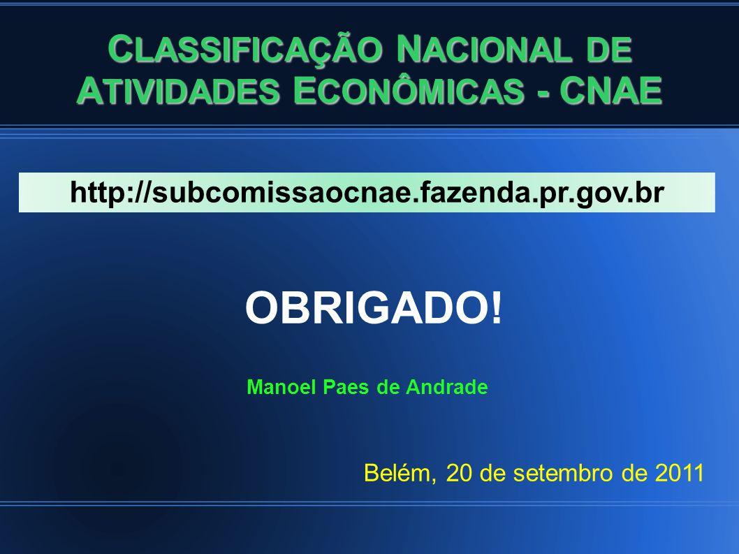C LASSIFICAÇÃO N ACIONAL DE A TIVIDADES E CONÔMICAS - CNAE OBRIGADO.