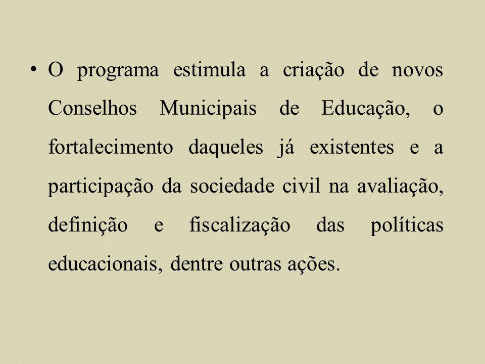 Objetivos O Pró-Conselho tem como principal objetivo qualificar gestores e técnicos das secretarias municipais de educação e representantes da sociedade civil para que atuem em relação à ação pedagógica escolar, à legislação e aos mecanismos de financiamento, repasse e controle do uso das verbas da educação.
