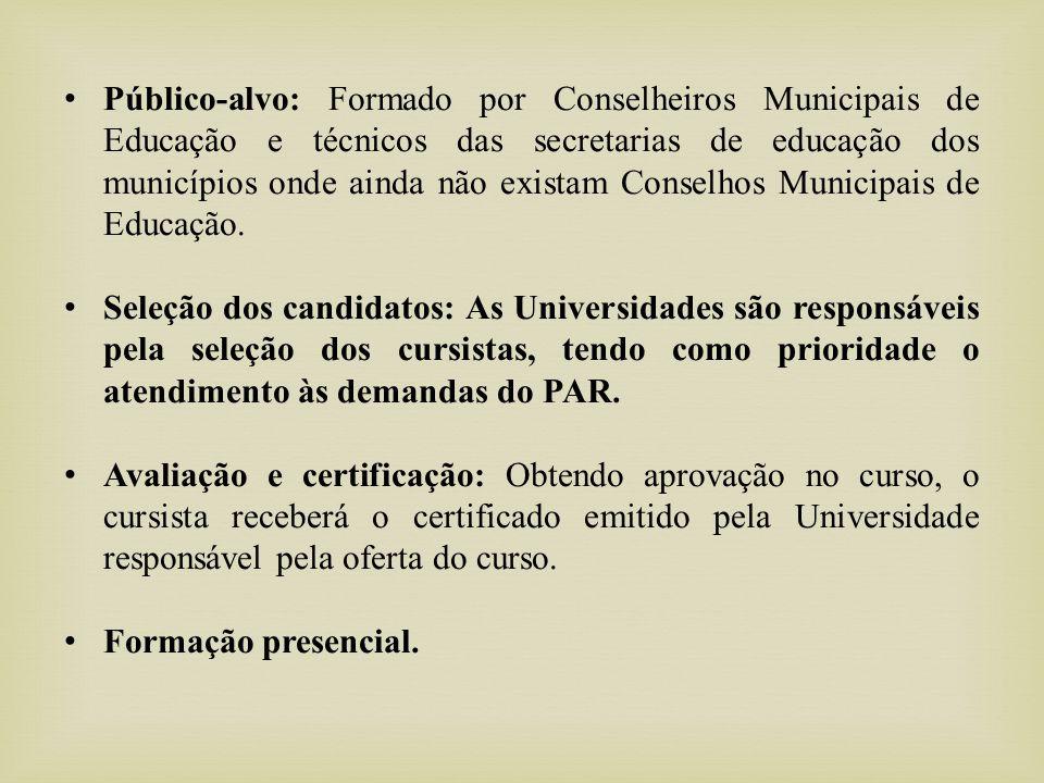 Encontros Nacionais, Estaduais e Municipais de Formação de Conselheiros Municipais de Educação.
