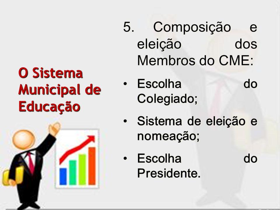 5. Composição e eleição dos Membros do CME: Escolha do Colegiado; Sistema de eleição e nomeação; Escolha do Presidente. 5. Composição e eleição dos Me
