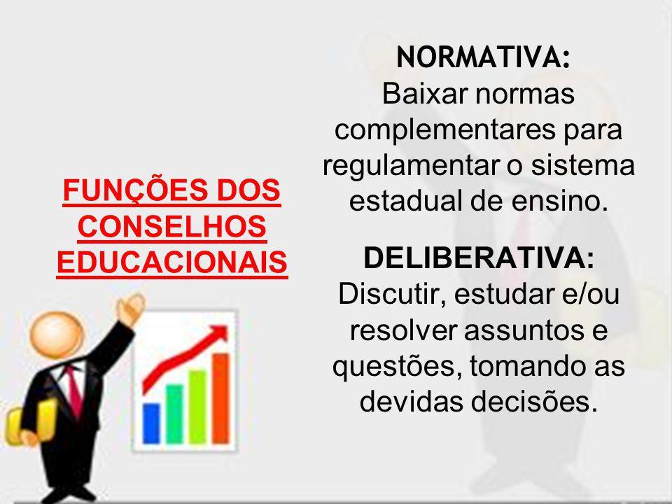 NORMATIVA: Baixar normas complementares para regulamentar o sistema estadual de ensino. DELIBERATIVA: Discutir, estudar e/ou resolver assuntos e quest