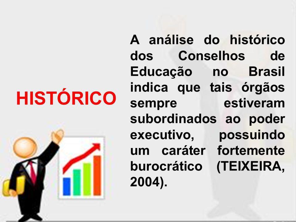 HISTÓRICO A análise do histórico dos Conselhos de Educação no Brasil indica que tais órgãos sempre estiveram subordinados ao poder executivo, possuind