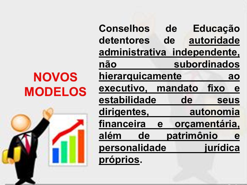 NOVOS MODELOS Conselhos de Educação detentores de autoridade administrativa independente, não subordinados hierarquicamente ao executivo, mandato fixo