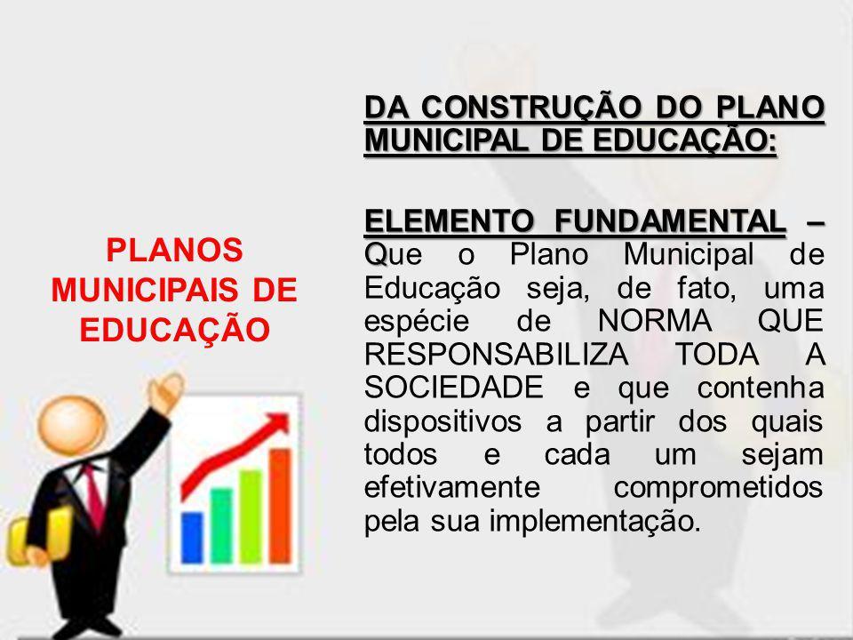 DA CONSTRUÇÃO DO PLANO MUNICIPAL DE EDUCAÇÃO: ELEMENTO FUNDAMENTAL – Q ELEMENTO FUNDAMENTAL – Que o Plano Municipal de Educação seja, de fato, uma esp