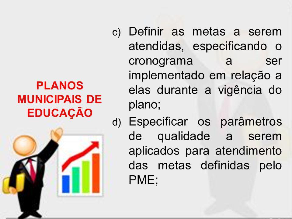 c) Definir as metas a serem atendidas, especificando o cronograma a ser implementado em relação a elas durante a vigência do plano; d) Especificar os