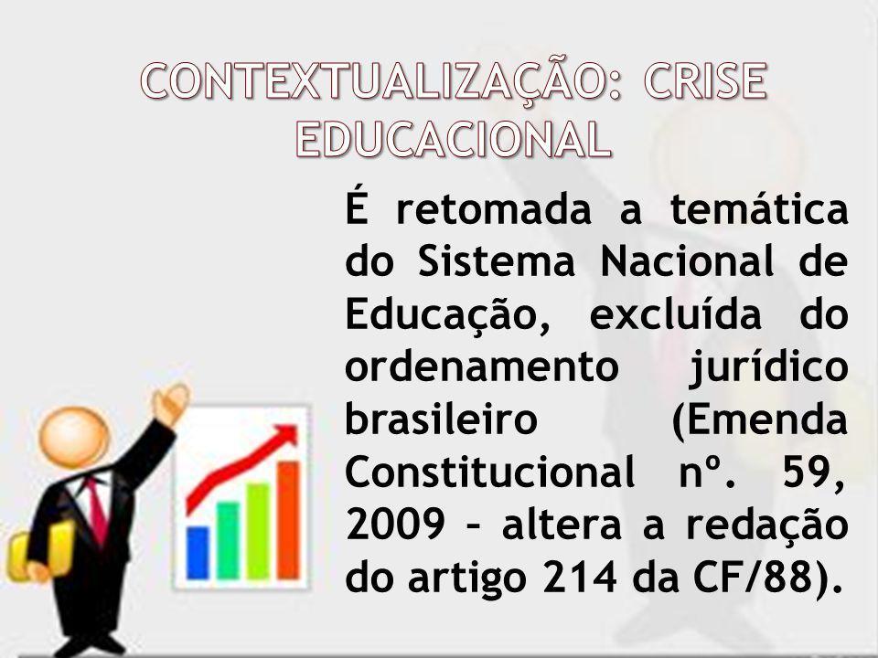 É retomada a temática do Sistema Nacional de Educação, excluída do ordenamento jurídico brasileiro (Emenda Constitucional nº. 59, 2009 – altera a reda