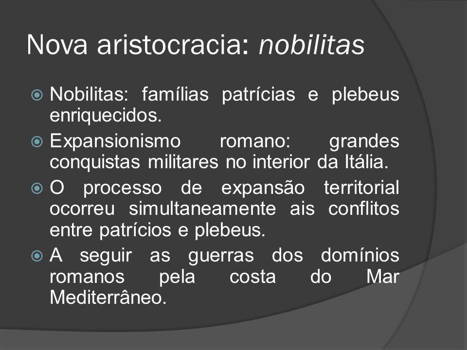 Nova aristocracia: nobilitas Nobilitas: famílias patrícias e plebeus enriquecidos. Expansionismo romano: grandes conquistas militares no interior da I